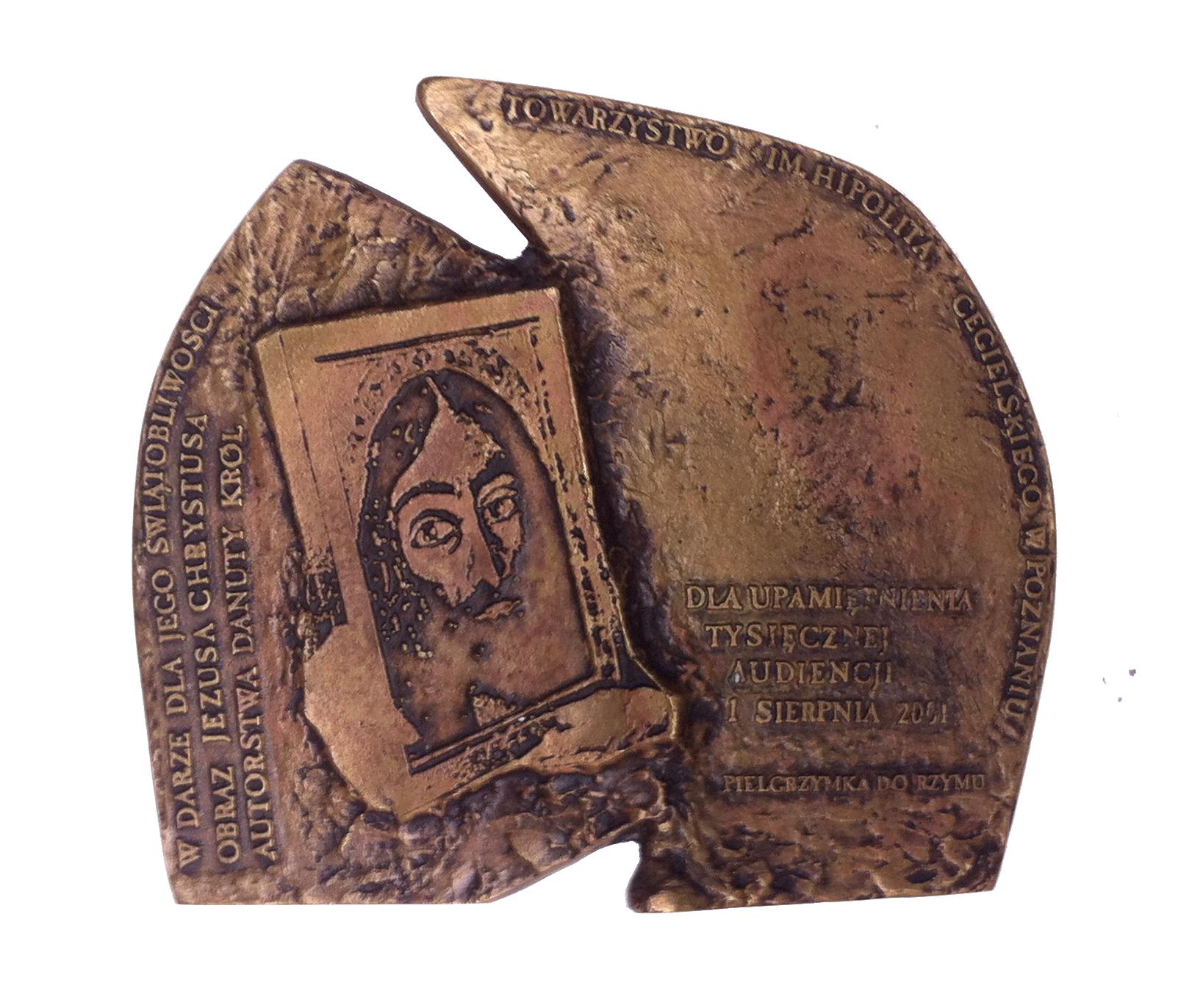 Tysięczna audiencja (rewers), brąz, 14 x 15,8 cm, 2001