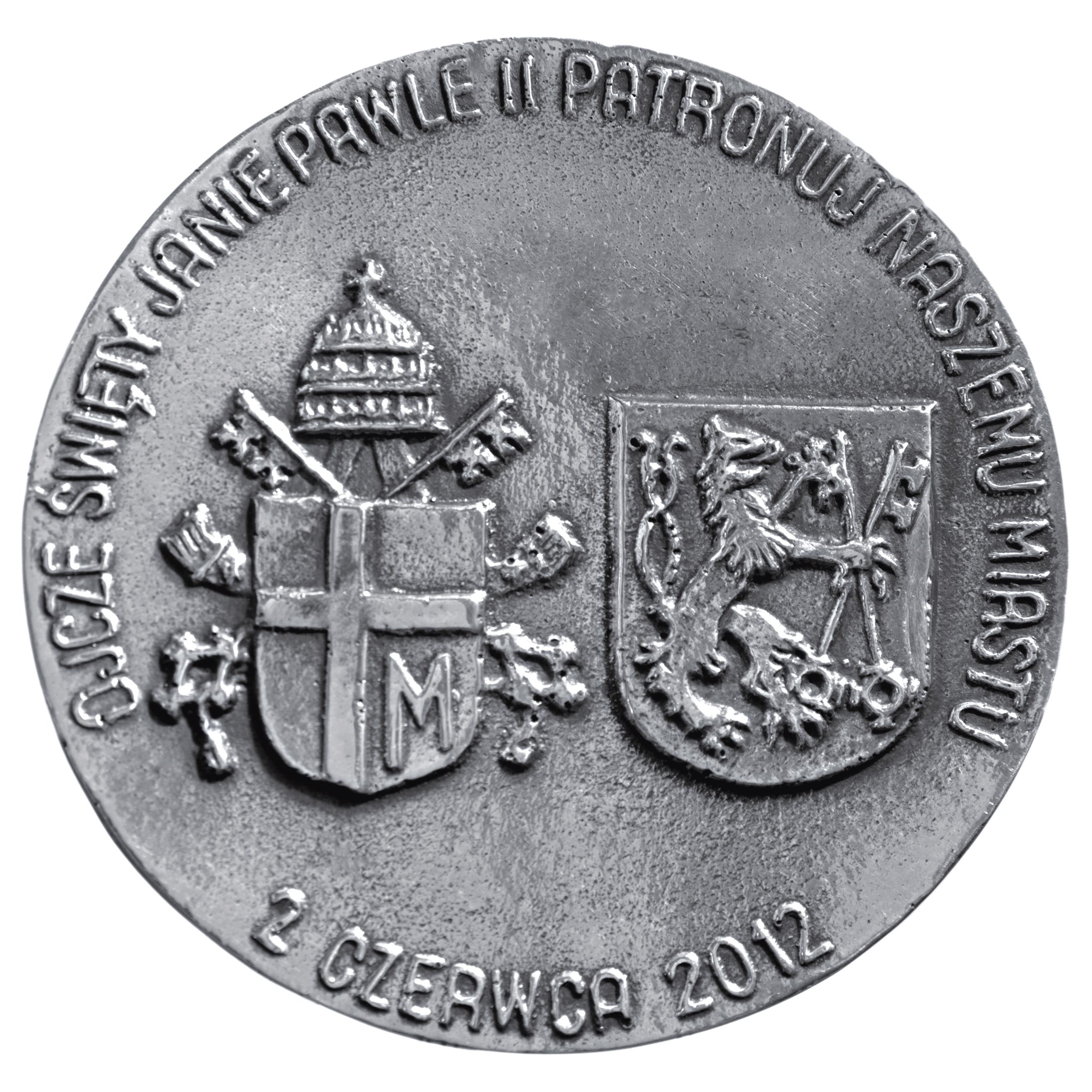 Andrzej Kołaczyński, medal dwustronny (rewers), odlewany, srebro, Φ 80 mm, 2012. XV ROCZNICA POBYTU PAPIEŻA W LEGNICY