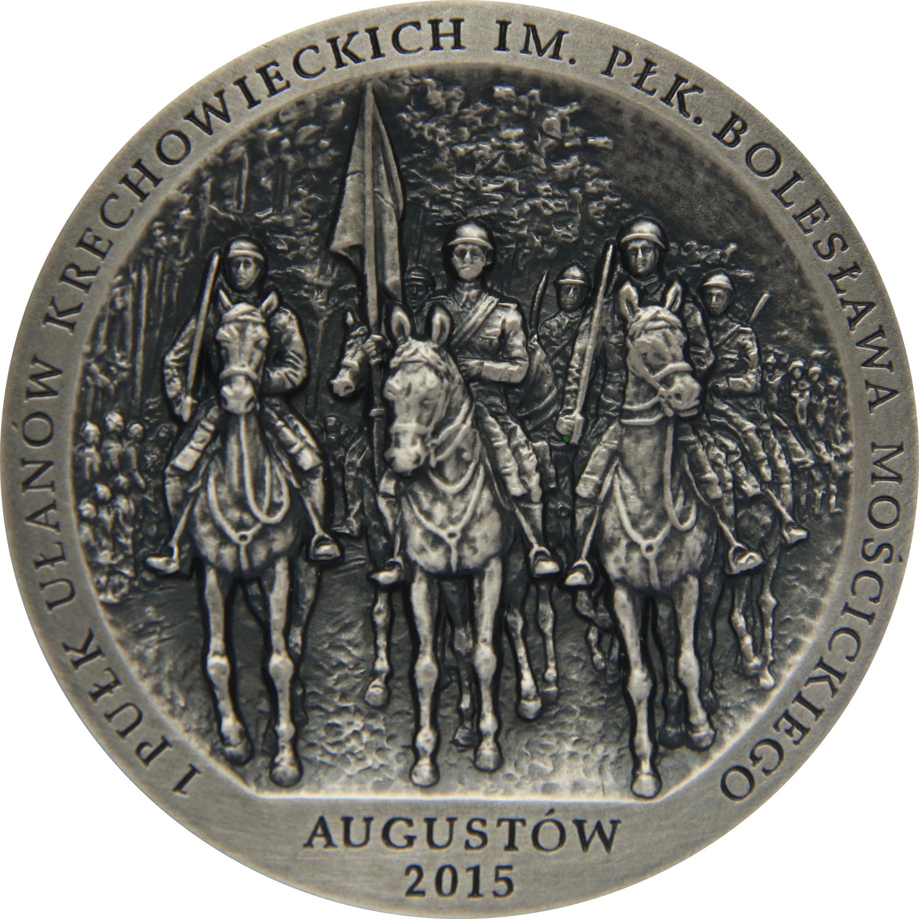 Tadeusz Tchórzewski - 100-lecie 1 Pułku Ułanów Krechowieckich im. płk. Bolesława Mościckiego (rewers), tombak srebrzony, 60 mm, 2015