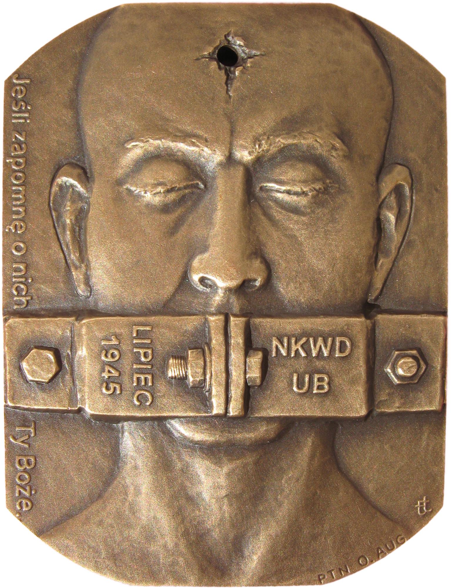 Tadeusz Tchórzewski - Medal w 65 rocznicę obławy augustowskiej (awers), tombak, 65 x 50 mm, 2010