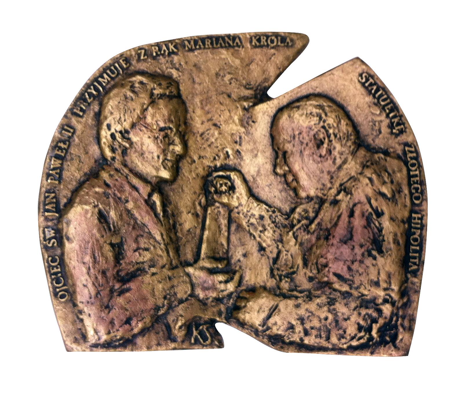 Tysięczna audiencja (awers), brąz, 14 x 15,8 cm, 2001
