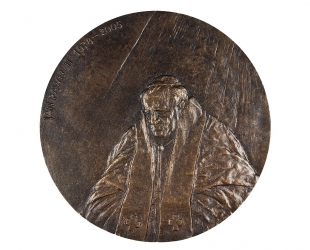 """Andrzej Borcz - """"Jan Paweł II"""" (awers), mosiądz krzemowy, Φ 160 mm"""