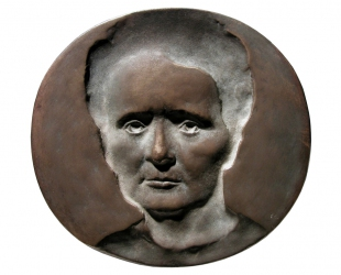 Maria Sklodowska-Curie, brąz lany, 138 x 145 mm, 1975, awers