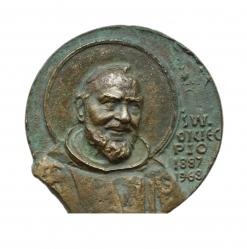 Wąsacz Józef - Św. Ojciec Pio (awers), brąz, 7 x 5 x 8 cm, 2002