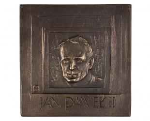 """Jacek Dworski - """"Jan Paweł II"""", brąz patynowany, 113 x 115 mm"""