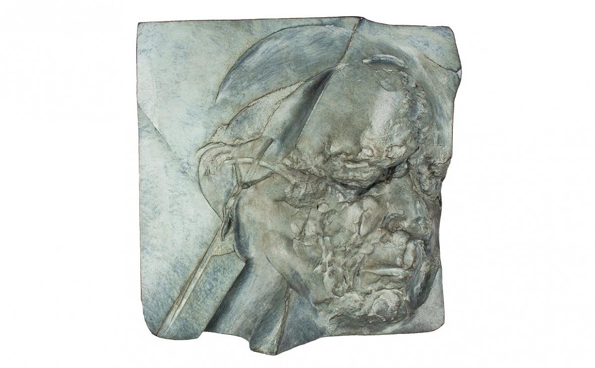 """Magdalena Dobrucka - """"Mój Jan Paweł II"""", brąz patynowany, 225 x 198 mm"""
