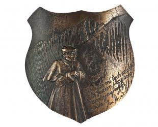 """Józef Murzyn - """"Na szlaku"""" (awers), brąz patynowany, 150 x 168 mm"""