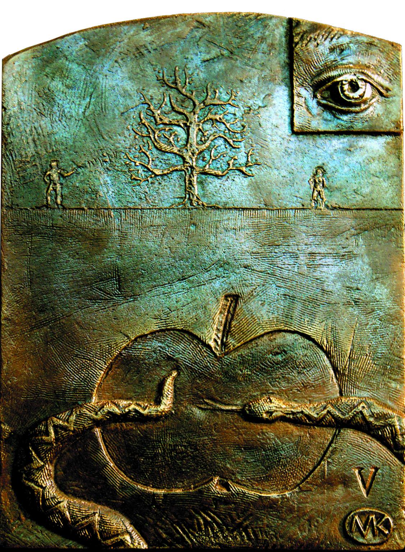 Kulpa Mariusz- Tryptyk rzymski JPII - 'Medytacje nad Ksiégá Rodzaju'' -_V, XIV, brąz, 15x19.8 cm, 2012