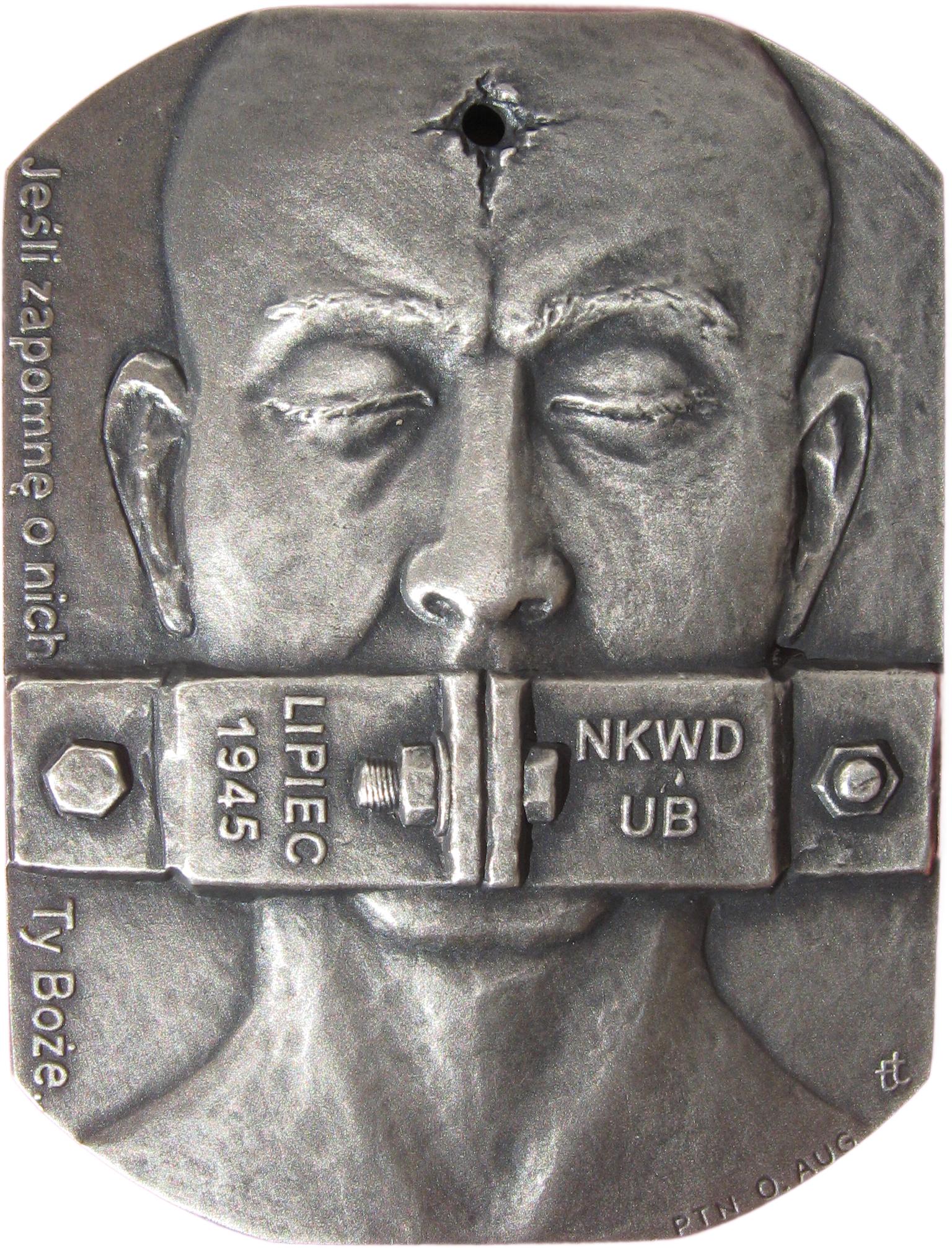 Tadeusz Tchórzewski - Medal w 65 rocznicę obławy augustowskiej (awers), tombak srebrzony, 65 x 50 mm, 2010