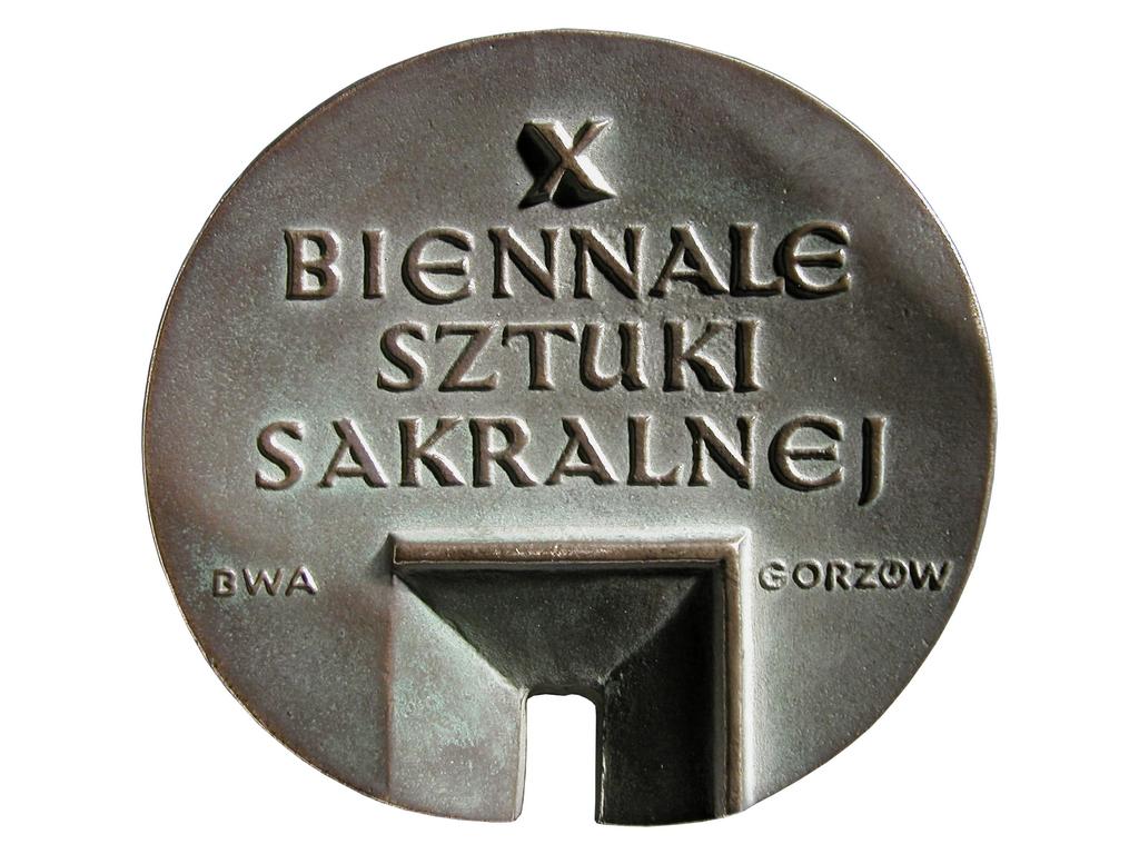 X Biennale Sztuki Sakralnej, brąz lany, 75 x 80 mm, 2002, awers