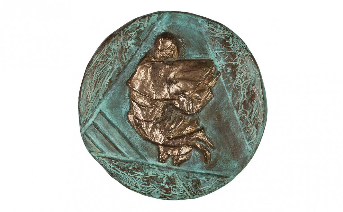 """Anna Praxmayer - """"Tryptyk: Ziemia, Woda, Światło"""", forma trzyczęściowa, brąz patynowany oraz srebrzony, Φ 170 mm, 2 trójkąty równoboczne - bok 170 mm"""