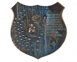 """Józef Murzyn - """"Na szlaku"""" (rewers), brąz patynowany, 150 x 168 mm"""