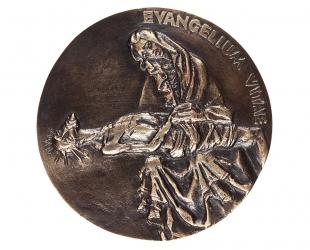"""Ewa Janus - """"Evangelium Vitae"""" (rewers), brąz patynowany, Φ 98 mm"""