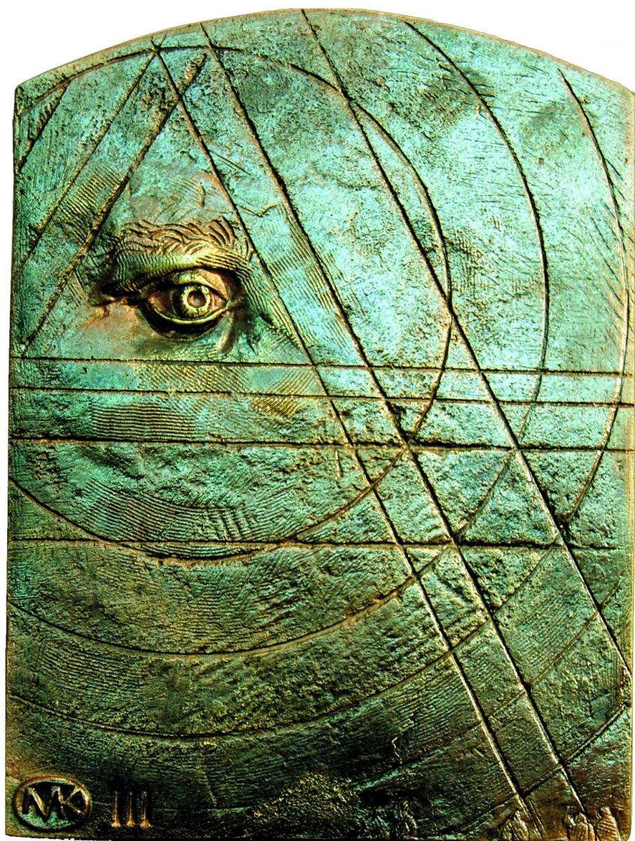 Kulpa Mariusz- Tryptyk rzymski JPII - 'Medytacje nad Ksiégá Rodzaju'' -_III, XIV, brąz, 15x19.8 cm, 2012