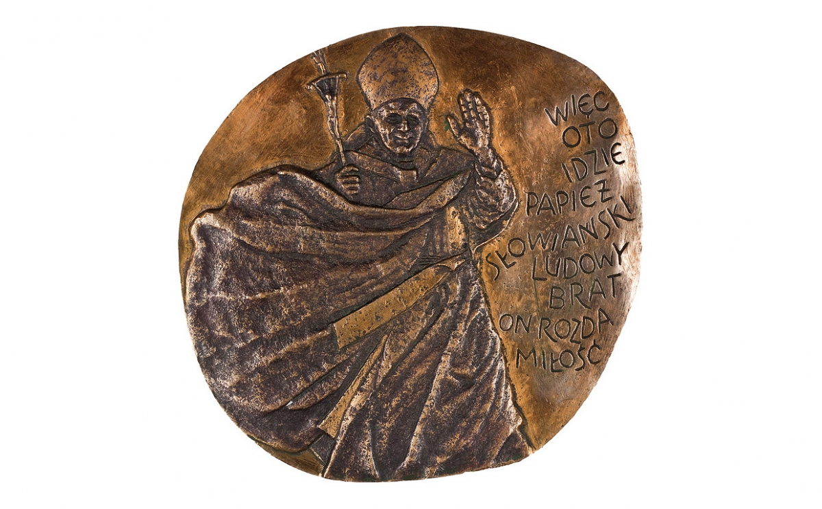 """Stanisław Pietrusa - """"Spełnione proroctwo"""" (awers), brąz patynowany, 135 x 125 mm"""