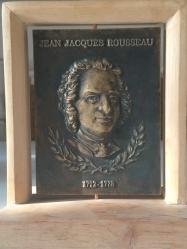 Łęski Paweł - Rousseau (awers), mosiądz, 10x14 cm, 2016