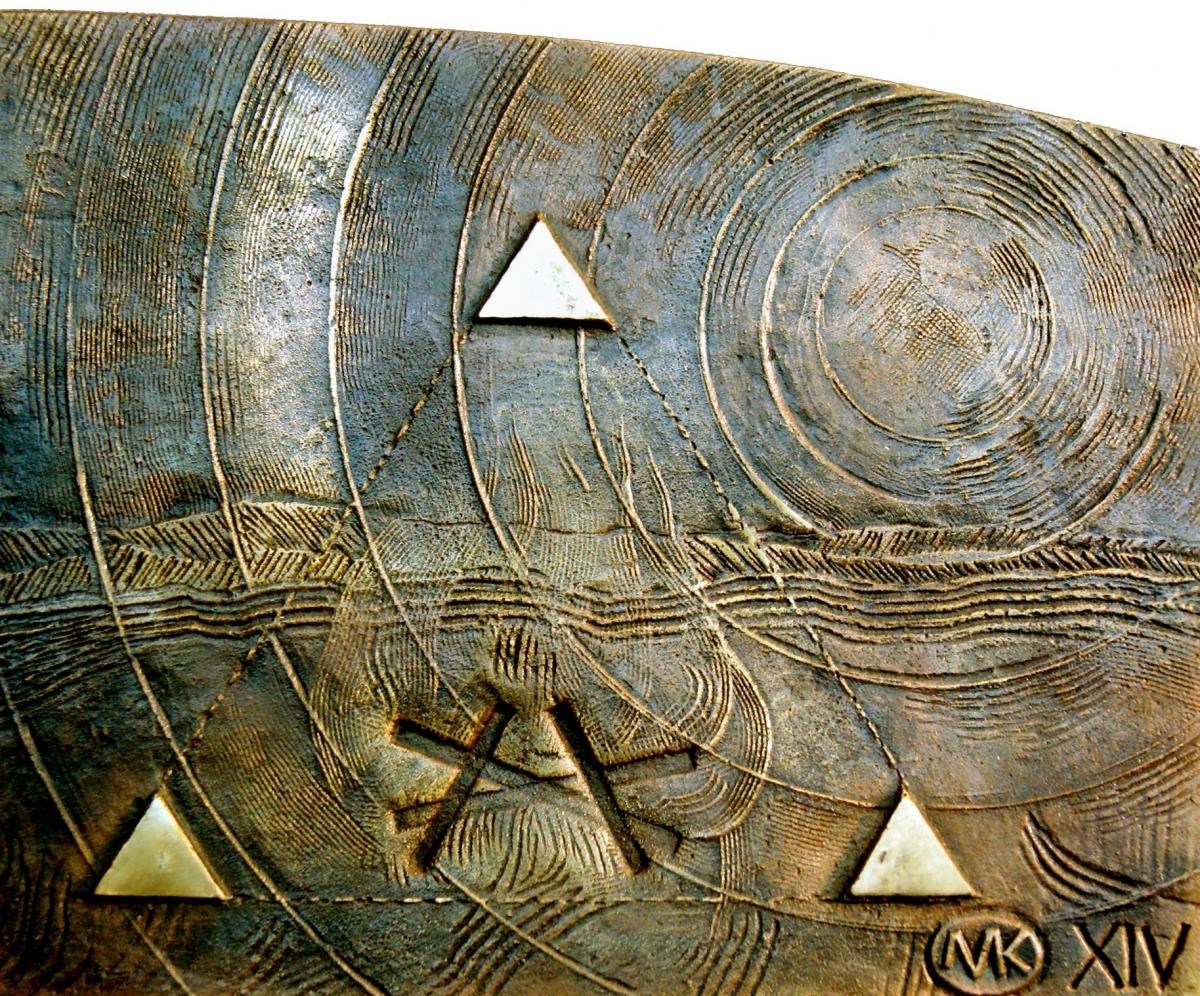 Kulpa Mariusz - Tryptyk rzymski JPII - ''Wzgórze w krainie Moria'' -_XIVXIV, brąz, 20x16 cm, 2012