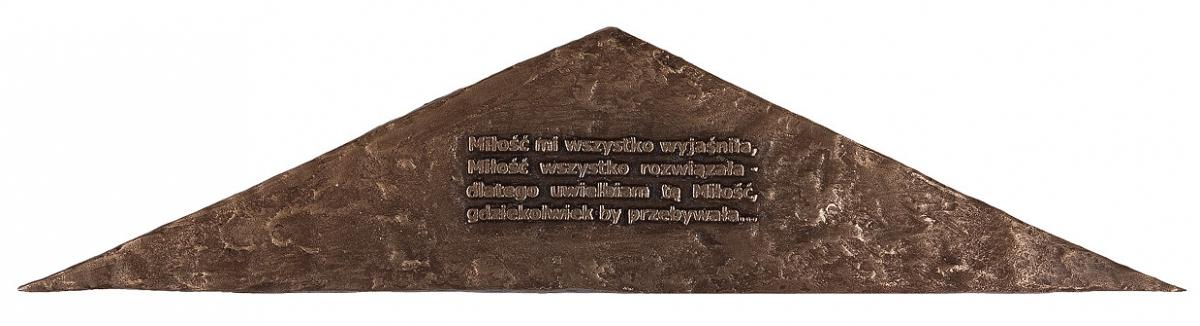 """Grażyna Szymała Wołyńska - """"Uwielbiam tę miłość"""" (awers), brąz patynowany, 170 x 38 mm"""
