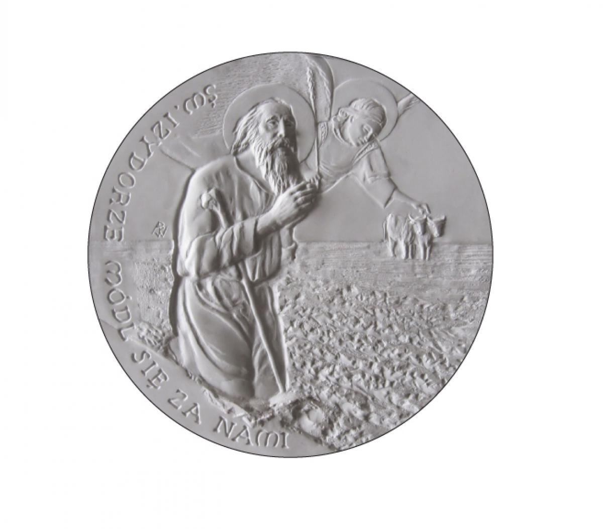 Anna Wątróbska-Wdowiarska, Św. Izydorze módl się za nami (awers), tombak srebrzony, oksydowany, 7 cm, 2017