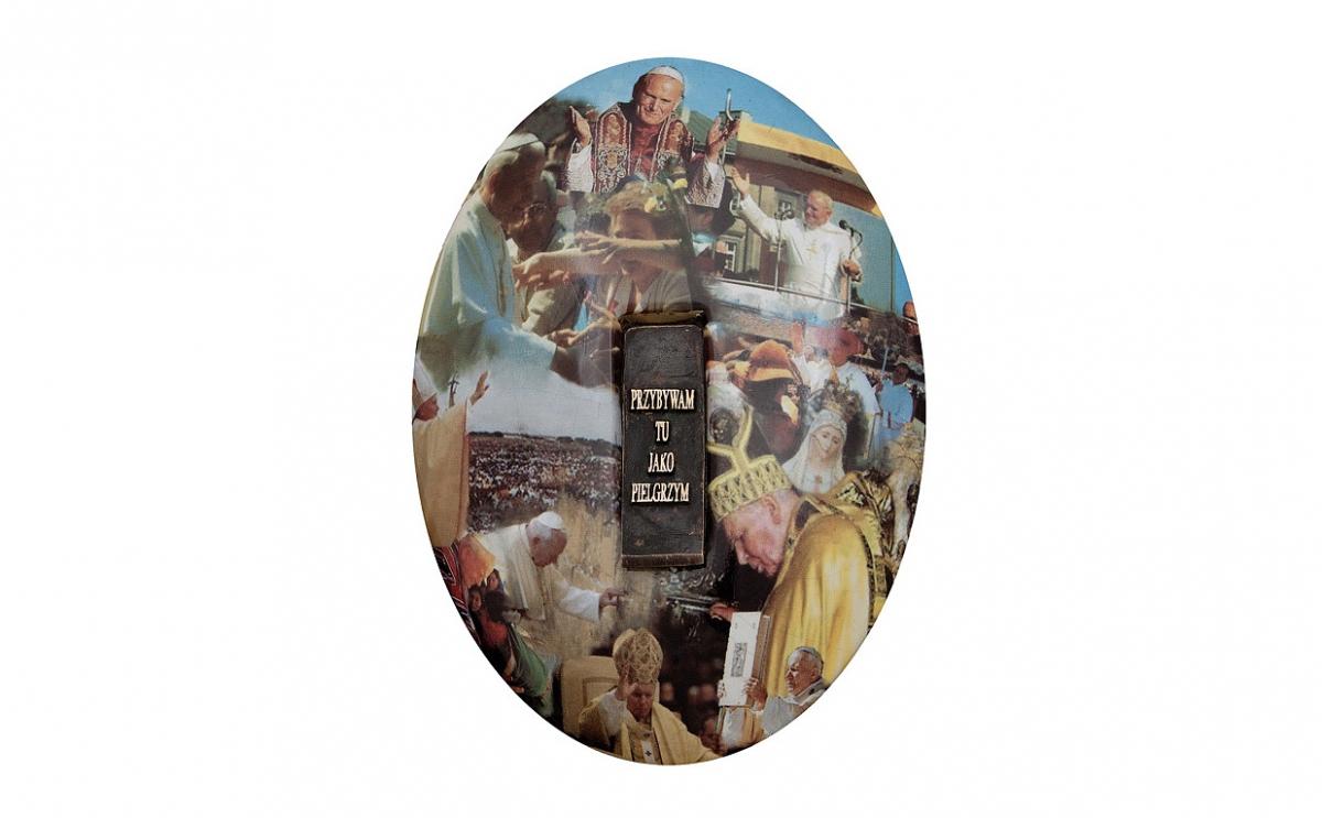 """Józef Polewka - """"Mój medalik"""" (awers), ceramika z użyciem sitodruku, brąz patynowany, 160 x 200 mm"""