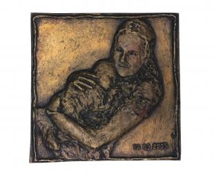 Marysia – urodziny Karola, brąz, 14,2 x 14,5 cm, 2005