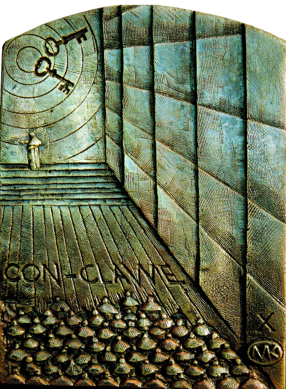 Kulpa Mariusz- Tryptyk rzymski JPII - 'Medytacje nad Ksiégá Rodzaju'' -_X, XIV, brąz, 15x19,8 cm,2012