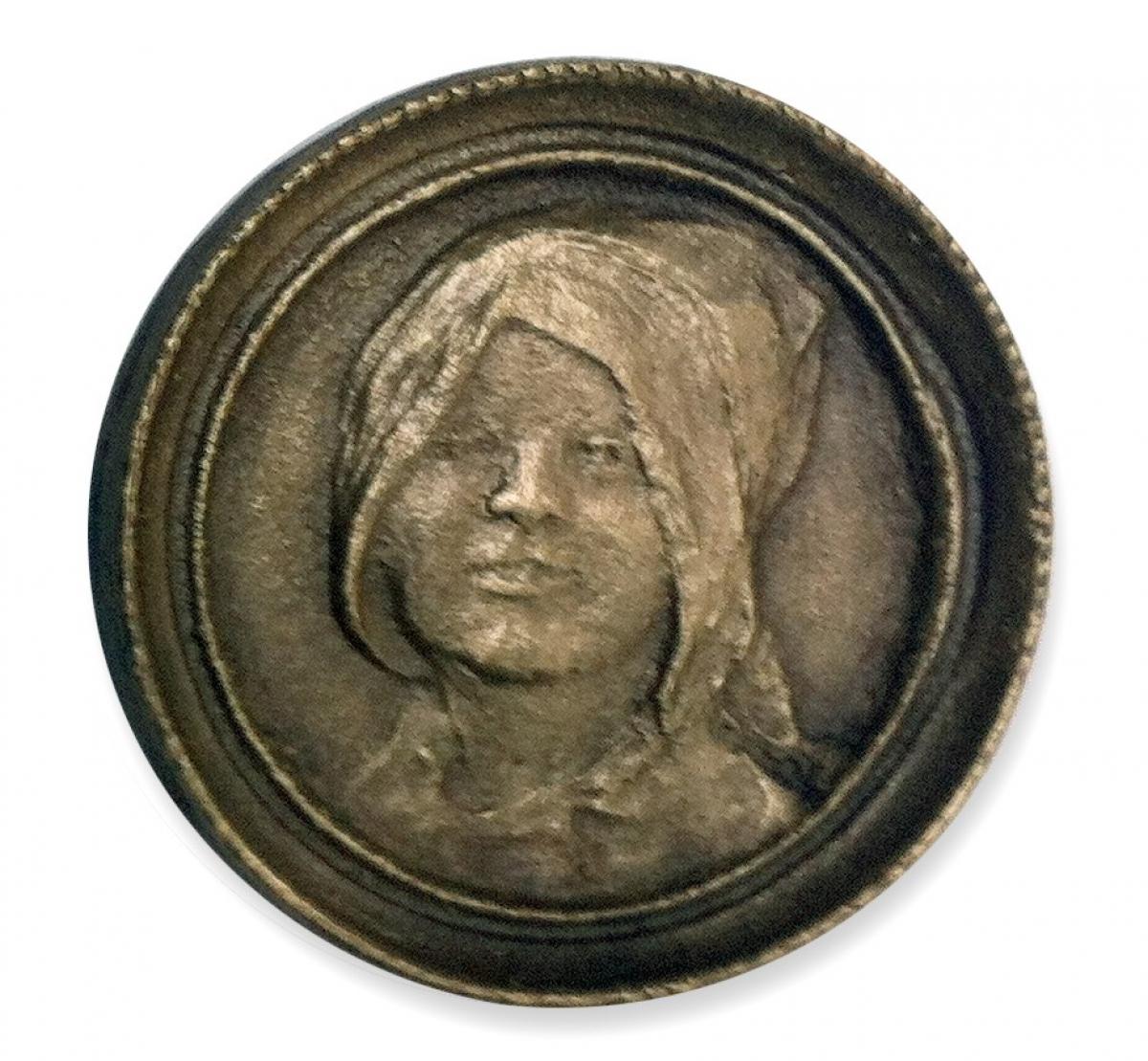 Uśmiechnięta Sylwia, OPUS 1725, brąz, Φ 7 cm, 2001