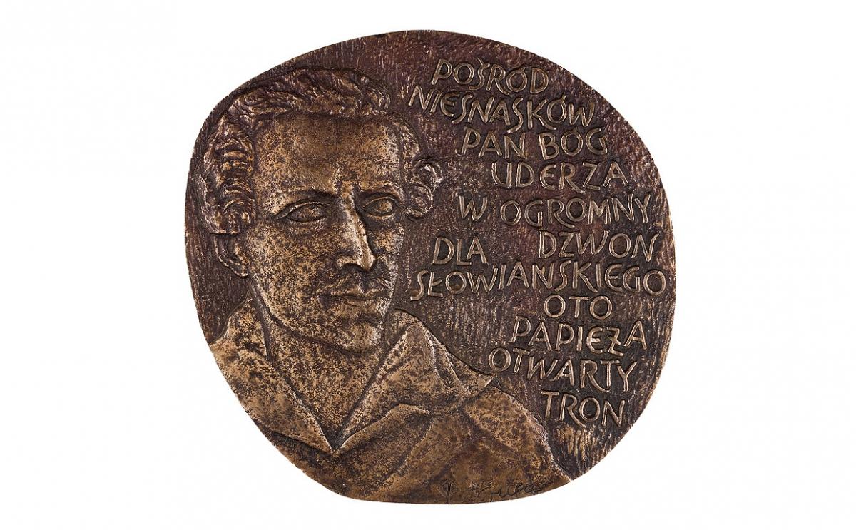 """Stanisław Pietrusa - """"Spełnione proroctwo"""" (rewers), brąz patynowany, 135 x 125 mm"""