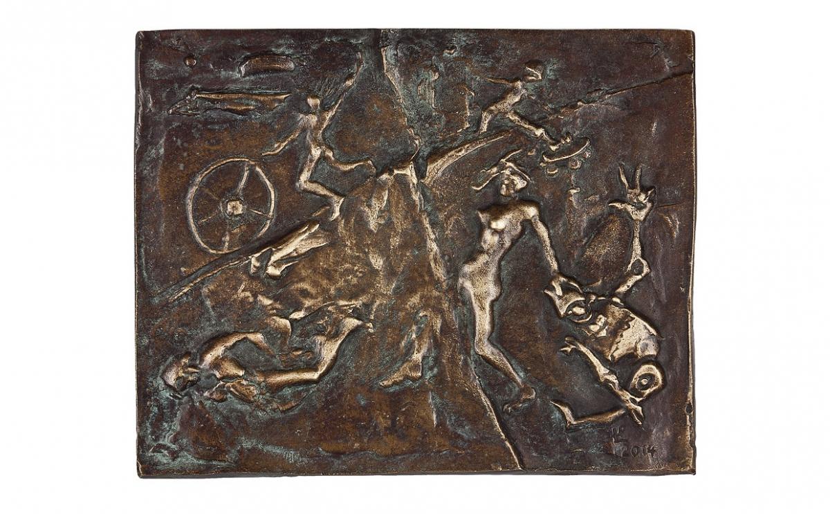 """Paweł Łęski - """"Smak życia"""" (rewers), brąz patynowany, 130 x 105 mm"""