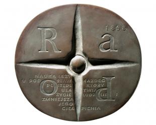 Maria Sklodowska-Curie, brąz lany, 138 x 145 mm, 1975, rewers