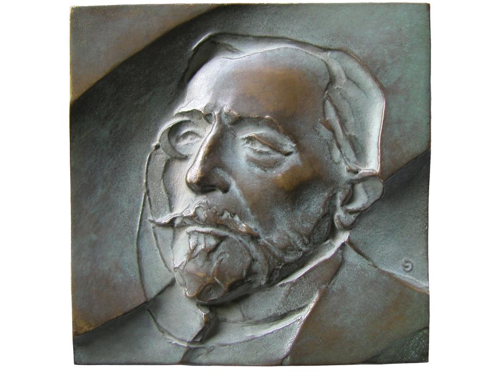 Joseph Conrad, brąz lany, 100 x 100 mm, 1994, awers