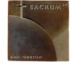 Biennale Sztuki Sakralnej, brąz lany, 75 x 76 mm, 1998, awers