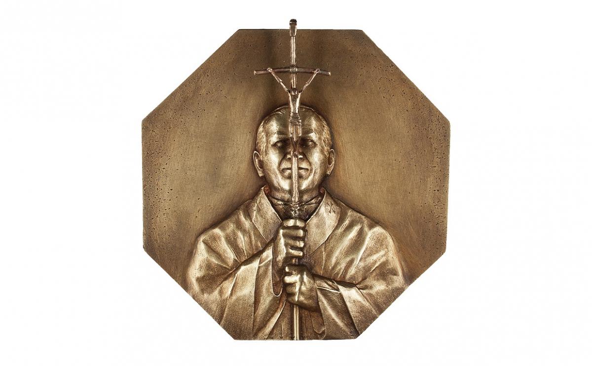 """Wojciech Ziemnicki - """"Miłość mi wszystko wyjaśniła"""" (awers), brąz patynowany, 130 x 130 mm"""