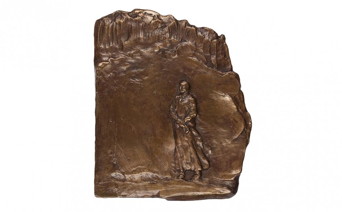 """Ewa Ross-Baczyńska - """"Zdumienie"""" (rewers), brąz patynowany, 130 x 160 mm"""