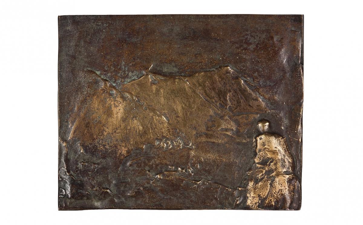 """Paweł Łęski - """"Smak życia"""" (awers), brąz patynowany, 130 x 105 mm"""