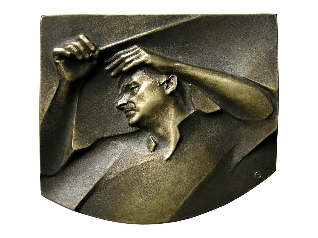 Tadeusz Strugała, brąz lany, 100 x 115 mm, 2005, awers