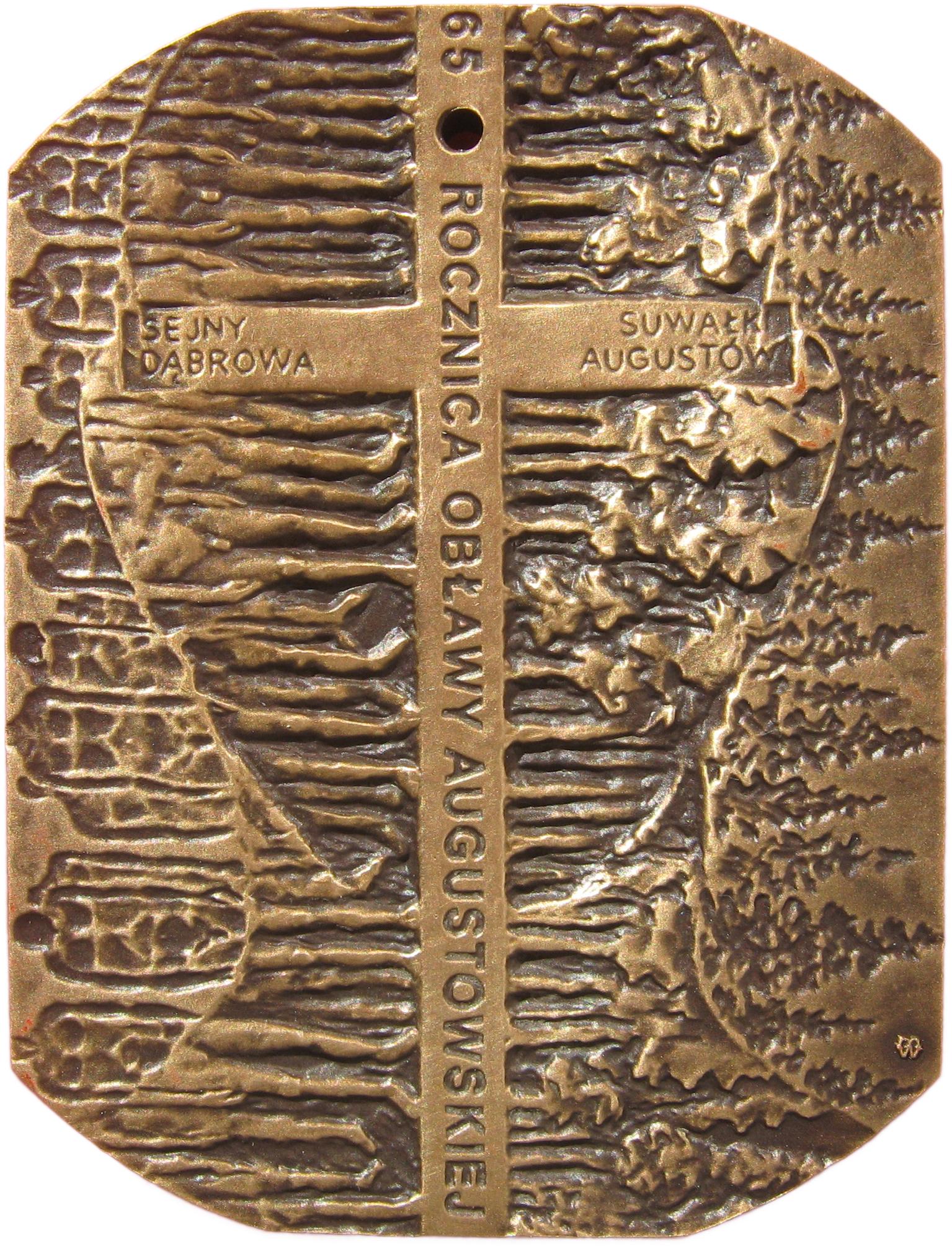 Tadeusz Tchórzewski - Medal w 65 rocznicę obławy augustowskiej (rewers), tombak, 65 x 50 mm, 2010