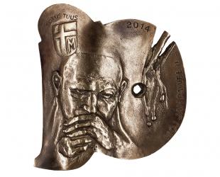 """Jerzy Grygorczuk - """"Jan Paweł II"""" (awers), brąz patynowany, 125 x..."""