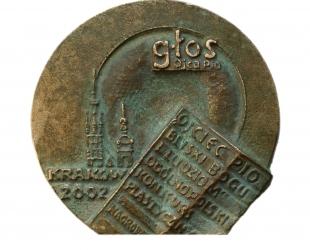 Wąsacz Józef - Św. Ojciec Pio (rewers), brąz, 7 x 5 x 8 cm, 2002