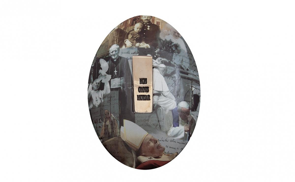 """Józef Polewka - """"Mój medalik"""" (rewers), ceramika z użyciem sitodruku, brąz patynowany, 160 x 200 mm"""