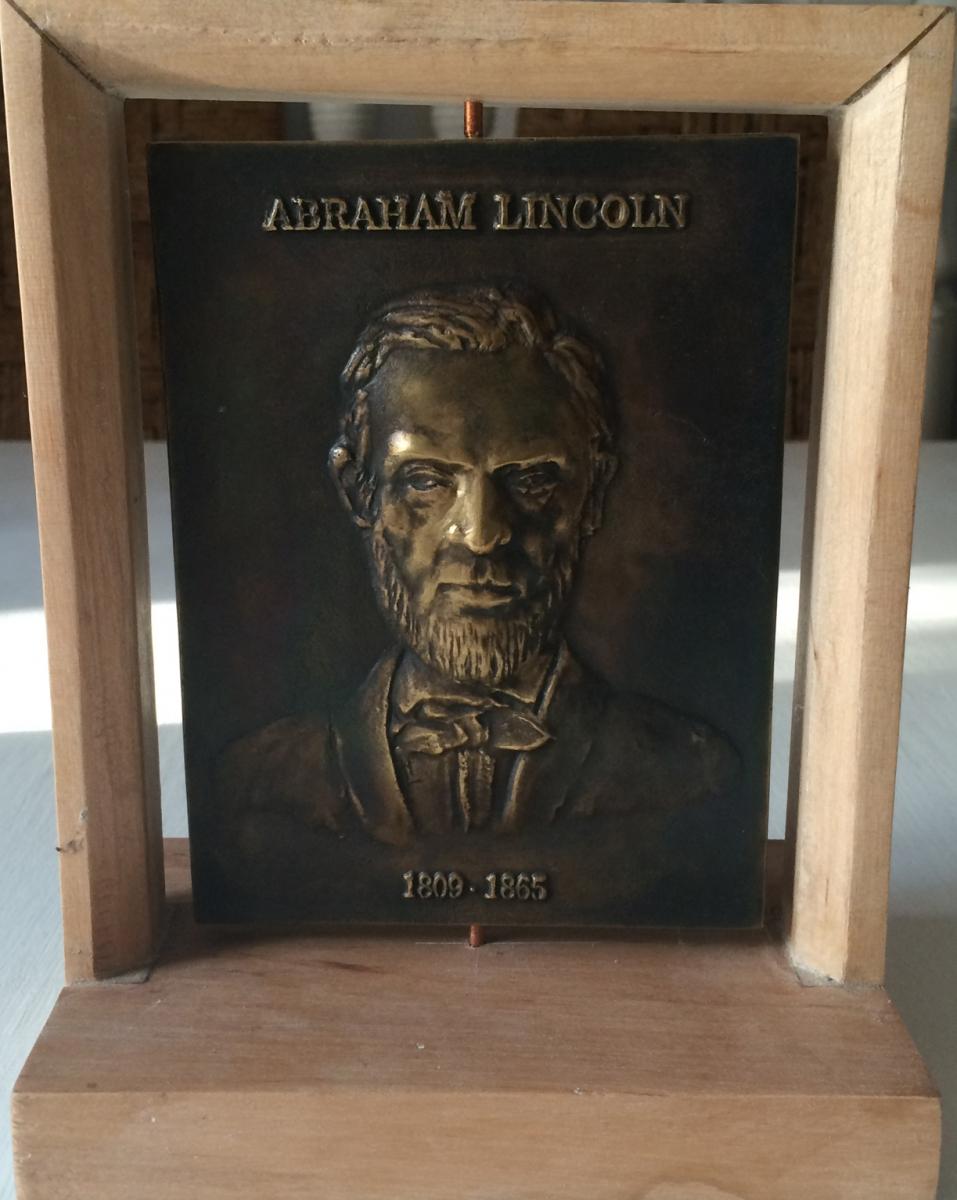 Łęski Paweł - Abraham Lincoln (awers), mosiądz, 10x14 cm, 2016