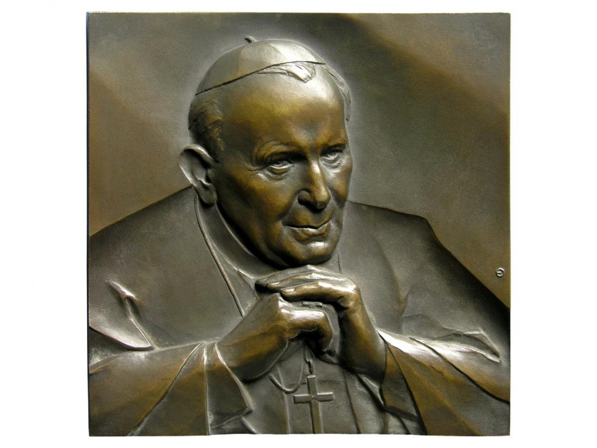 Jan Paweł II, brąz lany, 180 x 180 mm, 2005