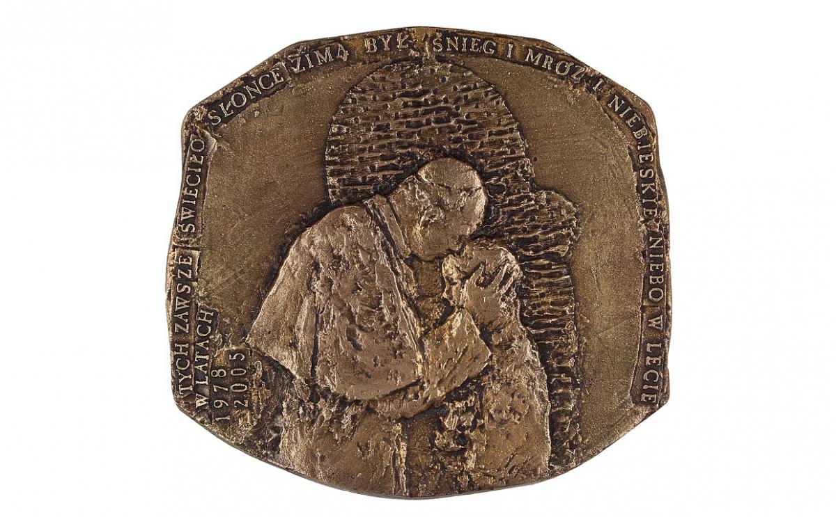 """Józef Stasinski - """"Błogosławiony czas"""" (awers), brąz patynowany, 120 x 116 mm"""