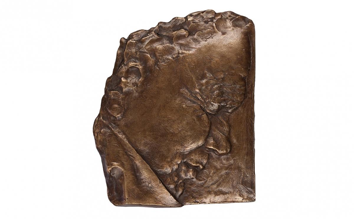 """Ewa Ross-Baczyńska - """"Zdumienie"""" (awers), brąz patynowany, 130 x 160 mm"""
