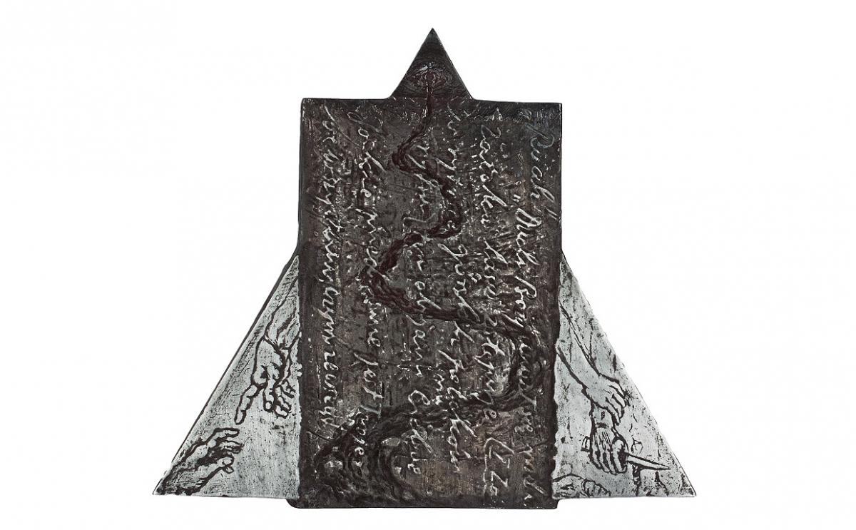 """Magdalena Schmidt-Góra - """"In via"""" (rewers), cynk patynowany, 160 x 140 mm"""