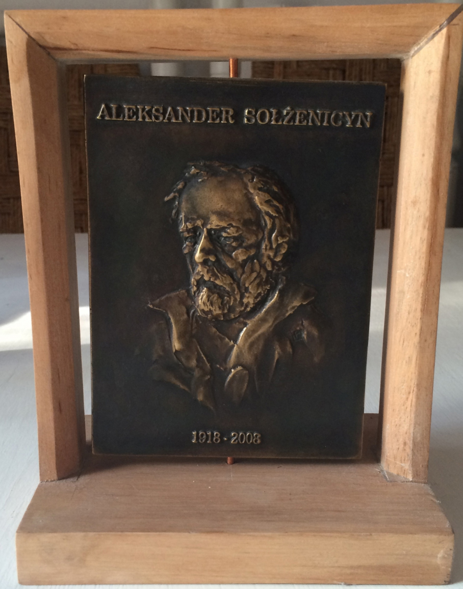 Łęski Paweł - Aleksander Sołżenicyn (awers), mosiądz, 10x14 cm, 2016