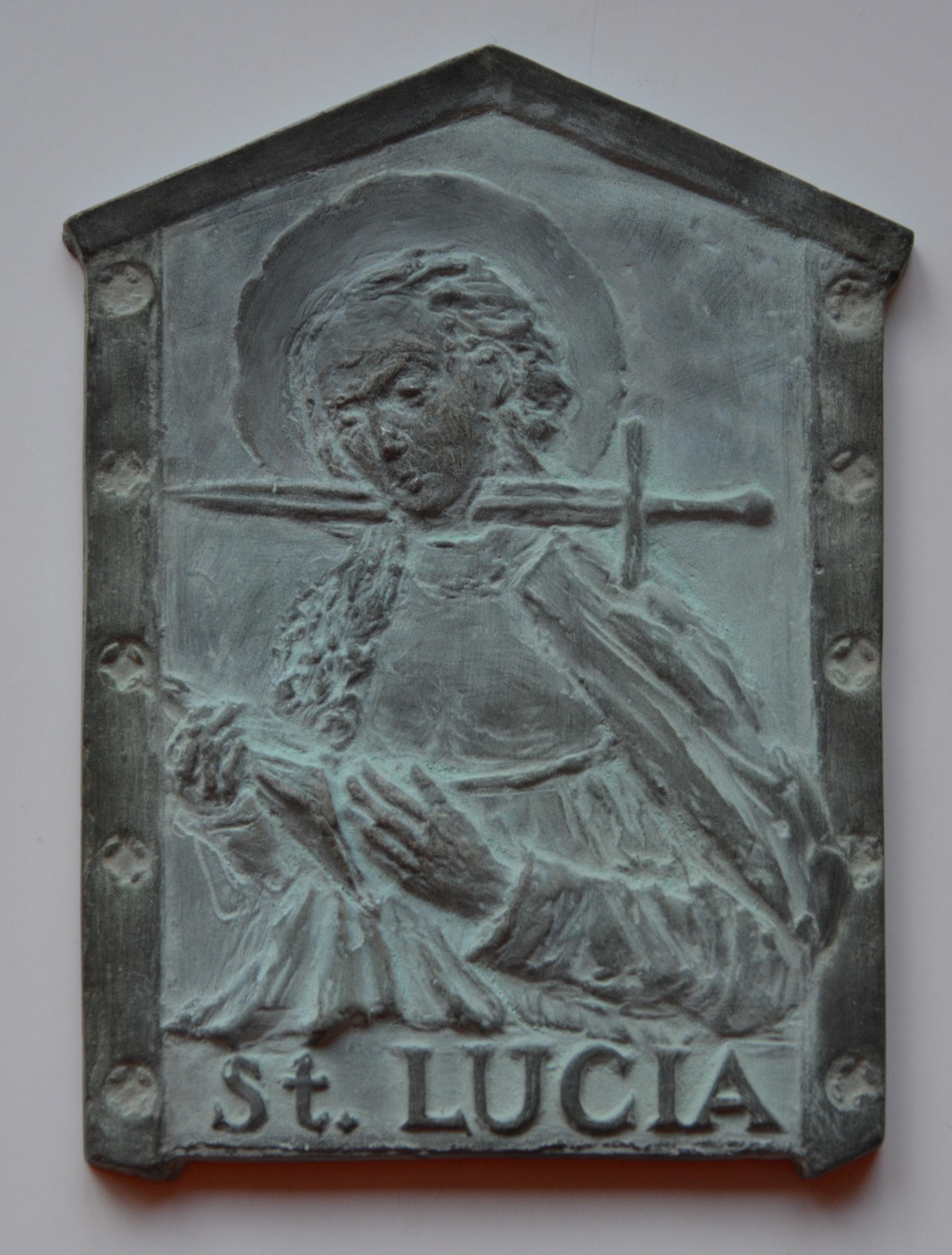 Z cyklu Legenda aurea - St. Lucia, cynk, 8,5 x 12 cm, 2016