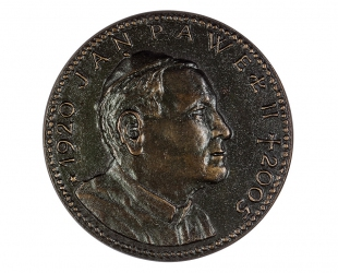 "Mateusz Dworski - ""Jan Paweł II 1920-2005"" (awers), brąz..."