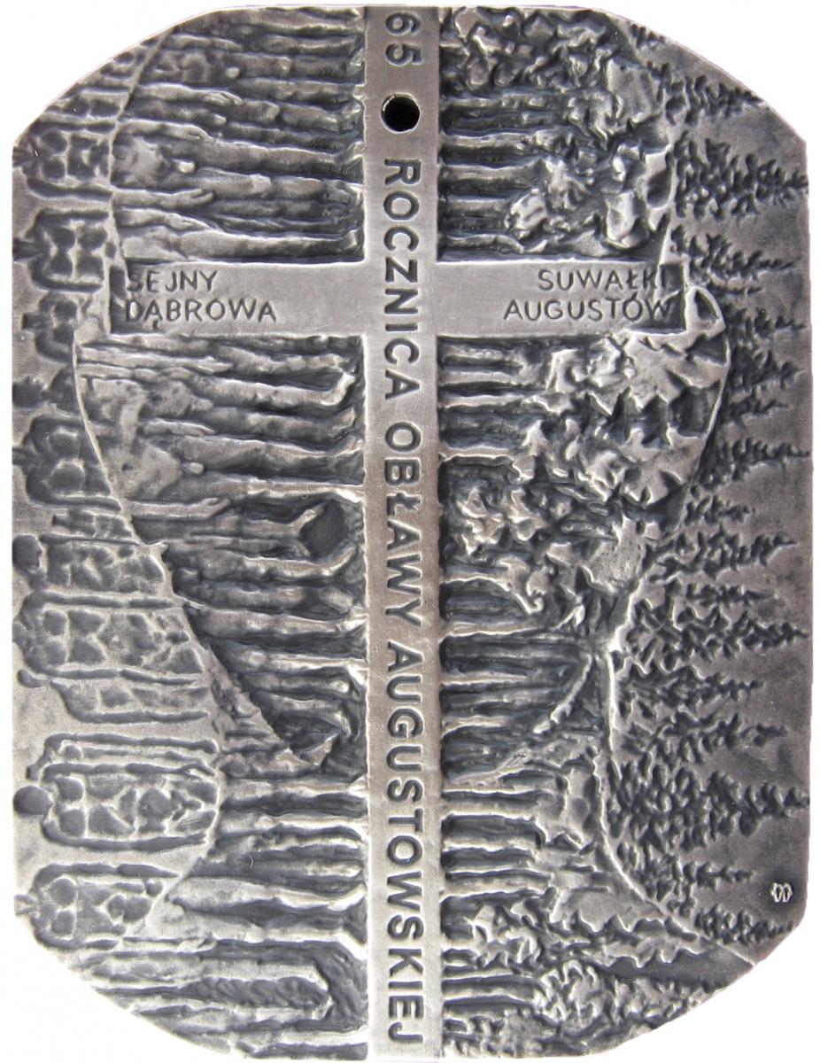 Tadeusz Tchórzewski - Medal w 65 rocznicę obławy augustowskiej (rewers), tombak srebrzony, 65 x 50 mm, 2010