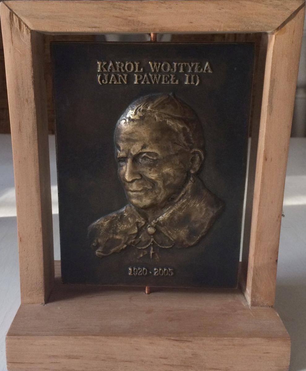 Łęski Paweł - Jan Paweł II (awers), mosiądz, 10x14 cm, 2016